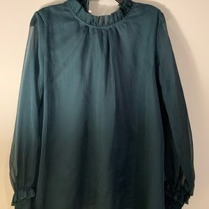 Boutique Bought Hunter Green Sheer Ruffle Blouse